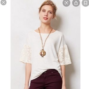 Anthro Dolan Gray Ivory Lace Sleeves Top Medium